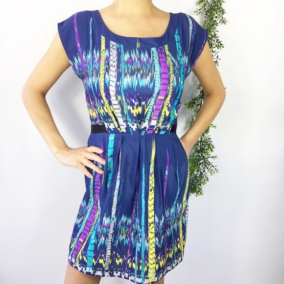 BeBop Dresses & Skirts - Bebop stripe watercolor fit and flare dress